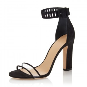 Balck PVC Chunky Heel Sandals Open Toe High Heels Ankle Strap Sandals