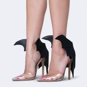 Women's Black Bat Girl Clear Heels Pointy Toe Stiletto Heels Sandals For 2017 Halloween