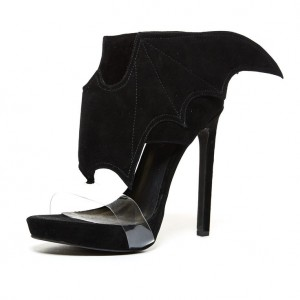 Women's Black Bat Girl Clear Heels Open Toe Stiletto Heels Sandals For 2017 Halloween