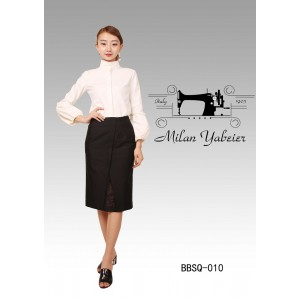 Women's White Business Shirt Black Elegant Summer Office Dress