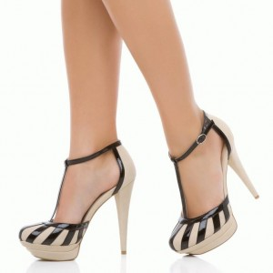 Nude and Black T Strap Heels Closed Toe Patent Leather Platform Pumps