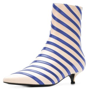 Beige and Blue Kitten Heel Boots Stripes Ankle Booties