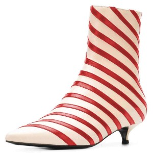 Beige and Red Kitten Heel Boots Stripes Ankle Booties