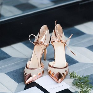 Beige and Rose Gold Pointy Toe Stiletto Heels Pumps