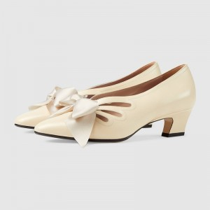 Irovy White Bow Hollow Out Chunky Heel Office Heels Pumps