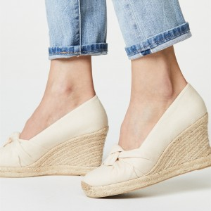 Beige Espadrille Wedges Wedding Shoes Round Toe Platform Pumps