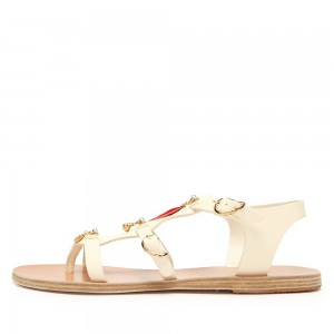 Beige Feather Buckles Flat Sandals