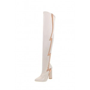 Beige Flash Stripe Chunky Heel Boots Over-the-knee Boots