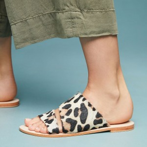 Leopard Horse Hair Women's Slide Sandals Open Toe Summer Flat Sandals