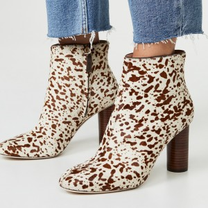 Beige Horsehair Animal Print Chunky Heel Boots Ankle Boots