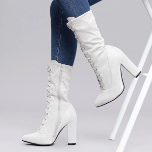 Off White Lace up Boots Suede Chunky Heels Mid Calf Boots By FSJ