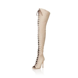 Beige Thigh High Lace up Boots Satin Peep Toe Stiletto Heel Long Boots