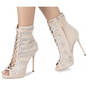Beige Lace up Stiletto Boots Rhinestone Hotfix Peep Toe Ankle Booties
