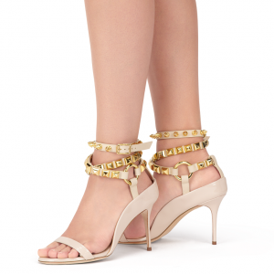 Beige Open Toe Strappy Rivets Ankle Strap Sandals