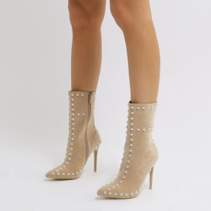 Beige Pearly Fashion Boots Pointy Toe Stilettos Suede Mid Calf Boots