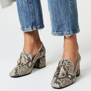 Beige Python Almond  Toe Block Heel Loafers for Women