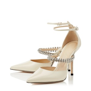 Ivory Wedding Shoes Patent Leather Pointy Toe Rhinestone Strap Pumps