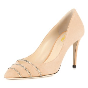 Nude Rhinestones Stiletto Heels Pumps for Office Lady
