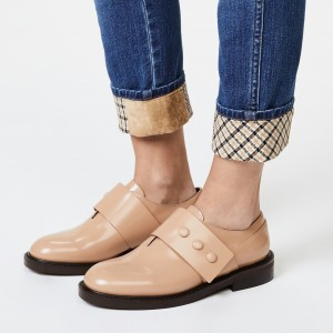 Beige Round Toe Agraffe Loafers for Women