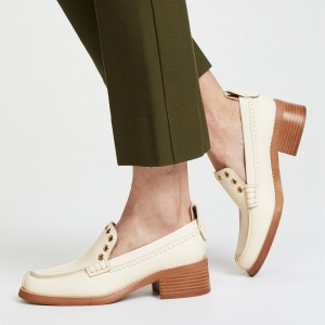 Beige Round Toe Holes Block Heel Loafers for Women