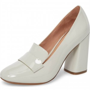 White Round Toe Patent Leather Block Heel Loafers for Women