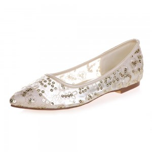 Beige Sequined Comfortable Flats