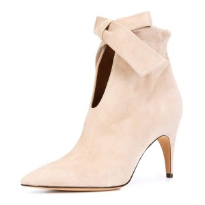 Beige Suede Boots Bow Pointy Toe Stiletto Heel Ankle Booties