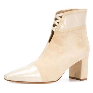 Beige Suede Chunky Heel Boots Ankle Boots