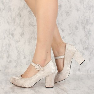 Beige Velvet Mary Jane Pumps Round Toe Chunky Heels Vintage Shoes