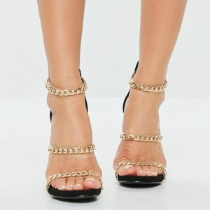 Black And Gold Chain Clear Tri-Straps Stiletto Heels Sandals