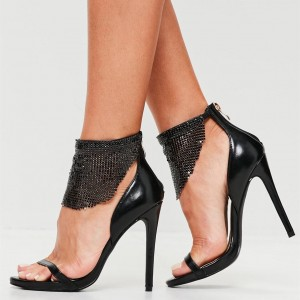 Black Stiletto Heels Ankle Strap Sandals