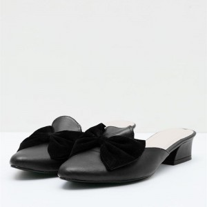 Black Almond Toe Block Heels Mule with Bow
