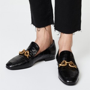 Black Almond Toe Metal Croc Loafers for Women