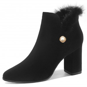 Black Almond Toe Pearl Furry Block Heels Ankle Booties