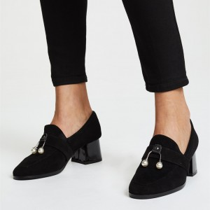 Black Almond Toe Suede Pearl Block Heel Loafers for Women