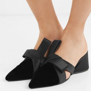Black Almond Toe Velvet Chunky Heels Mule with Bow