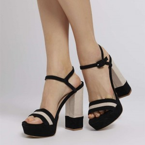 Black and Beige Open Toe Slingback Sandals Suede Block Heel Sandals