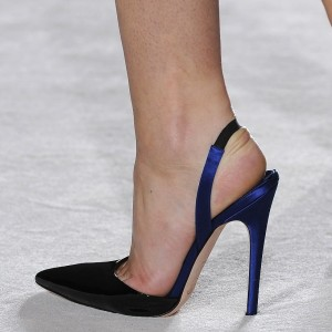 Black and Blue Pointy Toe Stiletto Heel Slingback Pumps