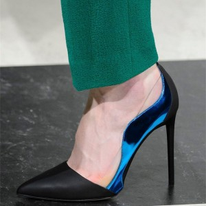 Black and Blue Pointy Toe Stiletto Heels Pumps for Office Lady
