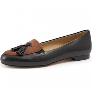 Black and Brown Round Toe Loafers for Women Tassel Comfortable Flats