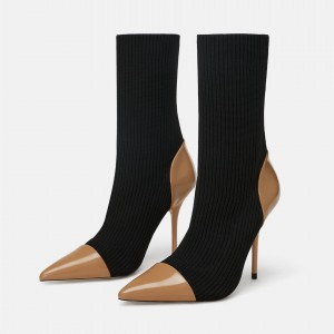 Black and Tan Sock Boots Pointy Toe Stiletto Heel Fashion Booties