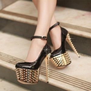 Women's Black Pumps and Golden Rivets  Stiletto Heels Stripper Shoes