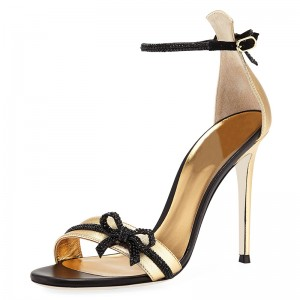 Black and Gold Bow Ankle Strap Heels Sandals