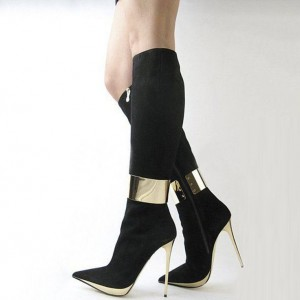 Black and Gold Knee Boots Pointy Toe Stiletto Heel Suede Boots