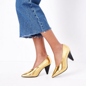 Black and Gold Metallic Heels Pointy Toe Cone Heel Pumps