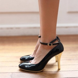 Black and Gold Oiled Vgan Leather Ankle Strap Heels
