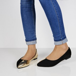 Black and Gold Pointy Toe Flats Comfortable Shoes