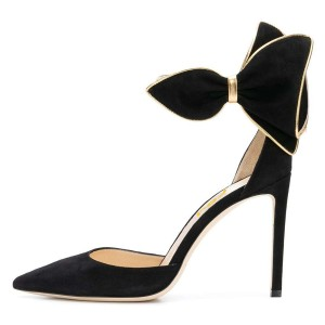 Black and Gold Pointy Toe Side Bow Heels Ankle Strap Heel Pumps