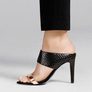 Black Python Open Toe Mule Heels Stiletto Heel Sandals