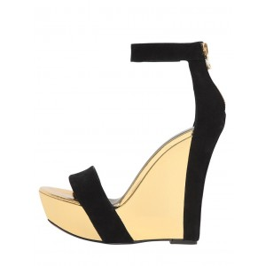 Black and Gold Wedge Sandals Open Toe Platform Ankle Strap Sandals